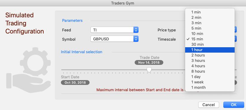 「Timescale」は、テストするときに使う一番小さい時間を選択
