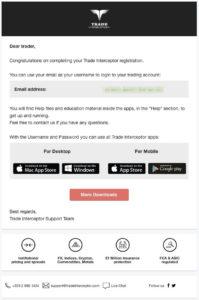 Trade Interceptor Support からメールが届く